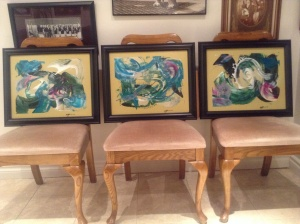 Paintings in acrylic , framed.